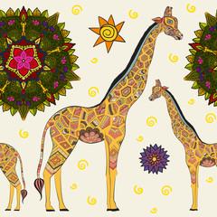 Beautiful adult Giraffe. Hand drawn Illustration of ornamental giraffe.  isolated giraffe on white background. Seamless pattern from an ornamental giraffe