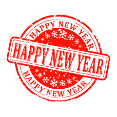 Scratched red round stamp with the words - Happy New Year - vector svg