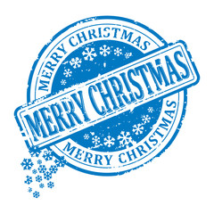 Scratched red round stamp with the inscription - merry christmas - vector svg