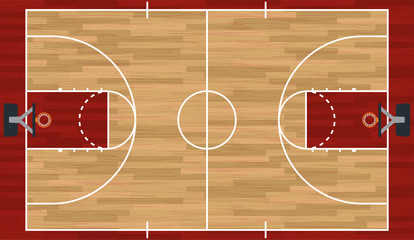 Realistic Basketball Court Illustration