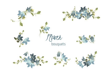 Floral bellflower retro vintage background