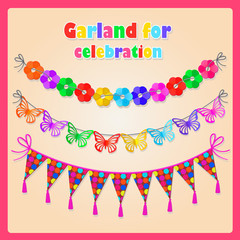 Set of three garlands and volume labels