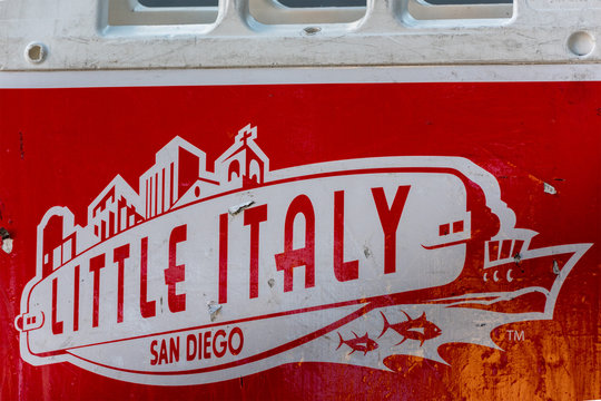 SAN DIEGO , USA-  DECEMBER 4, 2015 - Merry xmas sign in Little Italy