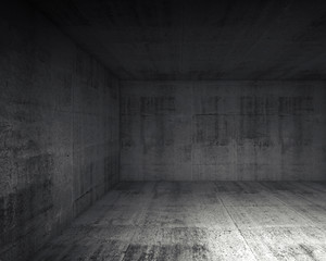 Abstract dark concrete interior of underground