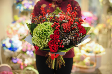 Beautiful red and green flowers bouquet