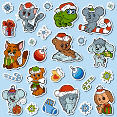 Vector set of Christmas cute animals, color cartoon collection,
