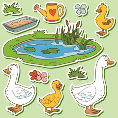 Color set of cute farm animals and objects, vector family goose