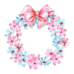 Floral Frame.  A wreath of watercolor wildflowers.  Perfect for wedding invitations and birthday cards. Template Vector.