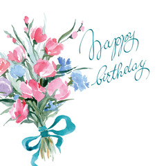 Birthday card with watercolor wild flowers. Vector illustration.