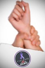 Composite image of male hand grabbing female wrist