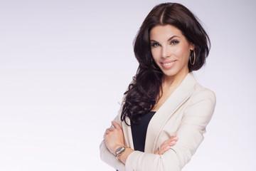 Elegant businesswoman smiling.