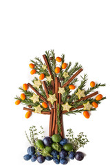 Christmas tree from seasoning , fruit and spices  vertical