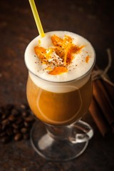 Irish coffee with orange peel vertical