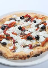 MEDITERRANEA. Italian pizza baked in a wood oven