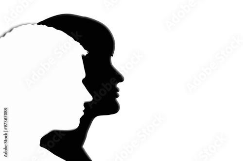 """Silueta Hombre Y Mujer: """"Hombre, Mujer, Siluetas, Fondos, Blanco Y Negro, Pareja"""