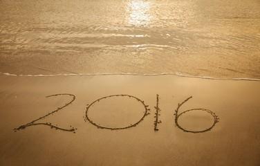 2016 on sand at beach