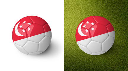 3d realistic soccer ball with the flag of Singapore on it isolated on white background and on green soccer field. See whole set for other countries.