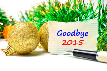 Goodbye 2015 Text on the background