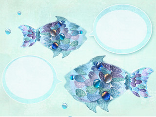 Art blue fishes with scales as an leaves. Hand drawn illustration. Floral fishes with speech bubbles. Creative design.