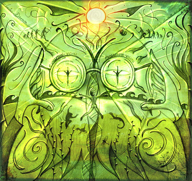 Evolution Vision : unique illustration inspired by evolution and its unique insight onto a changing world.