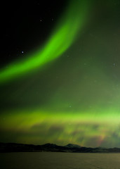 Aurora borealis dancing over frozen Lake Laberge Yukon Canada
