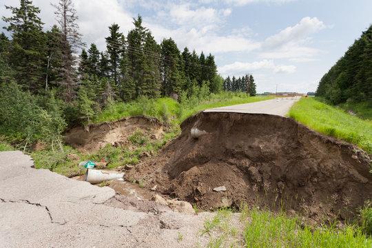 Flood damaged washed out road