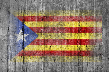 Catalan independence flag painted on background texture gray con