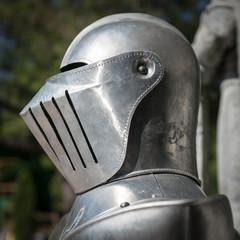 Helmet detail of medieval armor.
