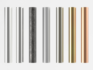 3d rendered many shades of metal pipes