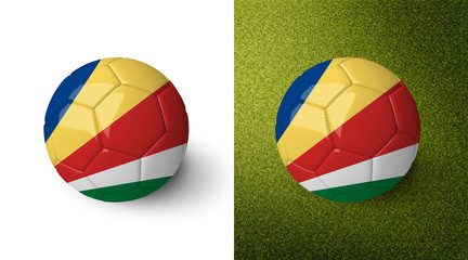 3d realistic soccer ball with the flag of the Seychelles on it isolated on white background and on green soccer field. See whole set for other countries.