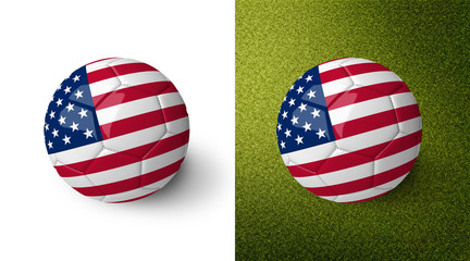 3d realistic soccer ball with the flag of the United States of America on it isolated on white background and on green soccer field. See whole set for other countries.