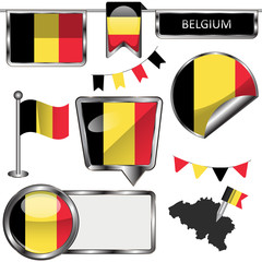 Glossy icons with flag of Belgium