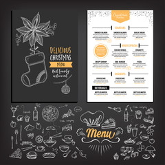Vector christmas restaurant brochure, menu design. Vector holiday template with xmas hand-drawn graphic. Happy New Year invitation flyer.