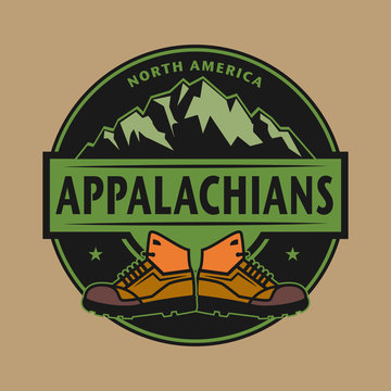 Stamp with text Appalachian Mountains, North America