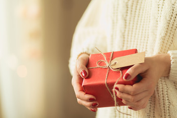 Lady holding new year gift