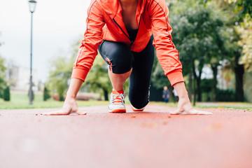 Closeup of woman ready to run