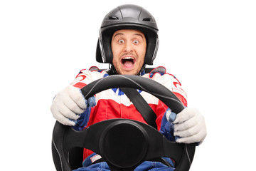 Excited car racer driving very fast
