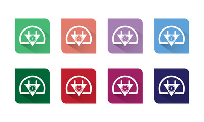 Electronic Icon Vector Flat and Long Shadow With Eight Colors Options