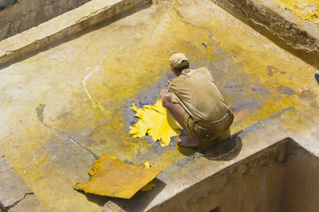 Older man works the leather An older man is working in the famous tannery complex of Fes in foul smelling conditions.