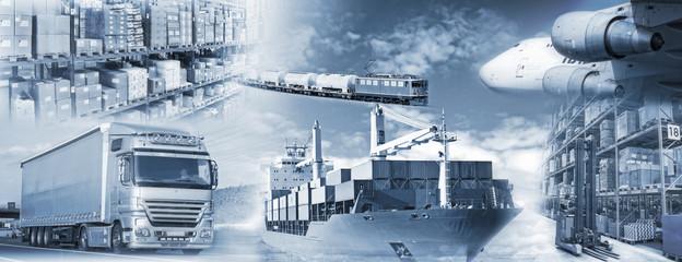Logistik mit Transport und Lagerung von Gütern