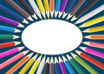 pw11 PencilWave - Buntstifte DIN A4 A5 A6 quer - Notizbuch - oval blue design - g4080