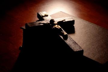 Crucifix over bible