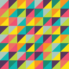 Vector modern seamless colorful geometry triangles pattern, color abstract geometric background, pillow multicolored print, retro texture, hipster fashion design