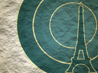 Eiffel tower in Paris. Outline silhouette. Gradient radiant backdrop