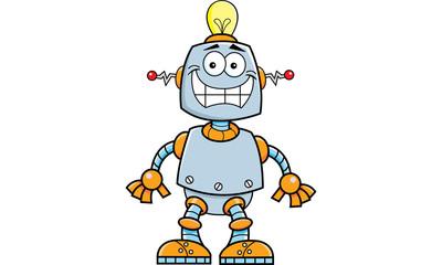 Cartoon illustration of a smiling robot.
