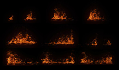 A set of burning horizontal wood beam with particles, perfect for digital composition
