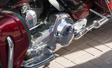 close up of shiny motorcycle engine Transmission