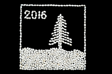 Christmas tree on snow in the night from an inscription 2016