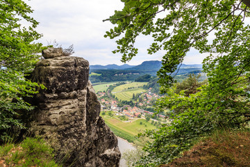 a beautiful view of the river Elbe from a height beautiful forest Saxon Switzerland. Reserve Bastei.