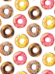 Donuts seamless pattern. Hand drawn watercolor pencils.